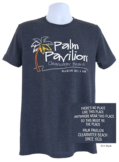 Palm Pavilion Signature Tee Shirt Dark Blue Heather