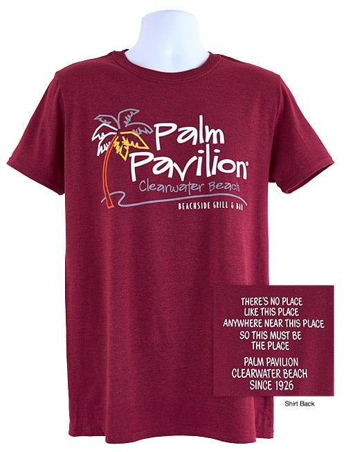 Palm Pavilion Signature Tee Shirt Raspberry Heather