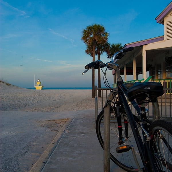 Ride your bike to the Palm Pavilion® Beachside Grill & Bar