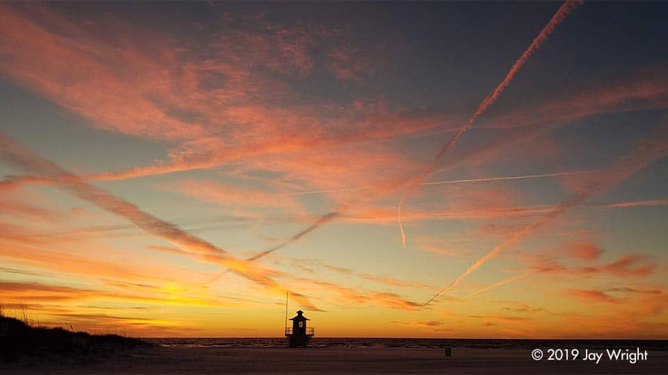 Contrails and sunsets ... what a great combination