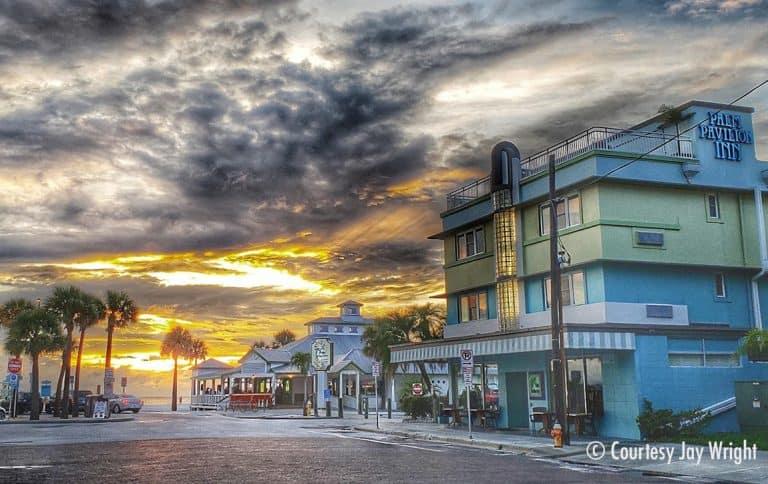 Palm Pavilion Inn at Sunset